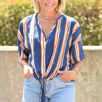 Gotta Have You Stripe Top - Navy