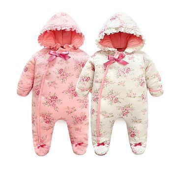Winter Newborn Baby Girl Rompers Thicken Warm Cotton Jumpsuit Hooded Clothing Floral Princess Christmas Girls Onesuit