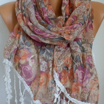 Floral Scarf - Cotton Scarf - Shawl - Cowl Scarf with Lace Edge - fatwoman- Spring Flowers - Beach wear