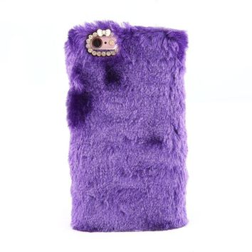 Purple Luxury Design Cute Rabbit Fur Phone Case Fashionable Fluffy Warm Mobile Phone Protective Case Cover Suitable for iPhone