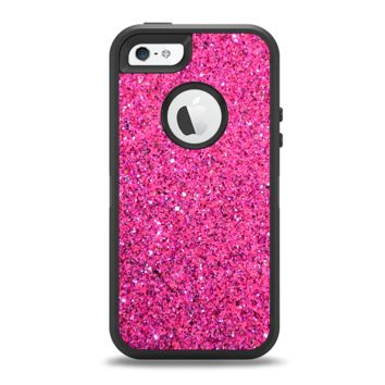 The Pink Sparkly Glitter Ultra Metallic Apple iPhone 5-5s Otterbox Defender Case Skin Set