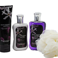 Bath & Body Works Signature Collection Black Raspberry Vanilla Gift Set - Bundle - 4 Items: Body Cream, Body Lotion, Shower Gel, and Shower Sponge