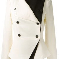 WHITE TEXTURED SUITING DOUBLE-BREASTED PEPLUM JACKET WITH BLACK DOUBLE LAPEL
