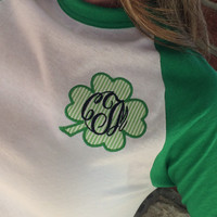 Monogram 3/4 Sleeve Green Raglan Tee Shamrock St. Patrick's Day  Font shown MASTER CIRCLE in navy