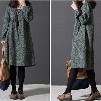 Floral dress, casual dress, short dress, print dress, loose dress, women plus size dress, green dress, long sleeve autumn dress (ESR57)