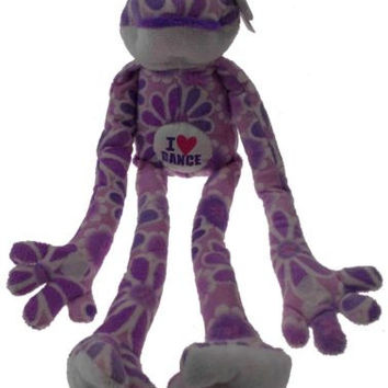 Flower Power Frogs I Love Dance Frog Hanging Plush Embroidered Purple NEW