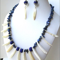 White Shell Dagger Women's Necklace | Cobalt Blue Bead Lapis Lazuli Necklace | Women's Necklace and Earring Set | Lady Green Eyes Jewelry