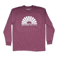 Logo Long Sleeve Tee in Maroon by Waters Bluff - FINAL SALE