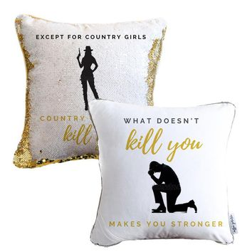 Country Girls Surprise Sequin Pillow - COVER ONLY (Inserts Sold Separately)