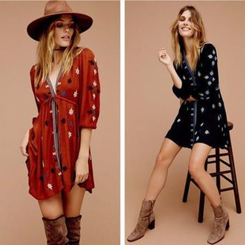 Free People Fashion Retro Multicolor Embroidery V-Neck Middle Sleeve Mini Dress