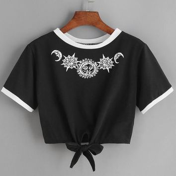 Sun & Moon Embroidered T-shirt