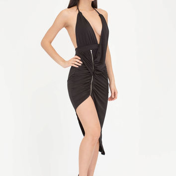 Hot Zip Ruched High-Low Halter Dress GoJane.com