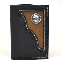 Nocona Tri-fold Genuine Leather Western Men's Wallet w/Cowboy Prayer Concho-Black N54516129