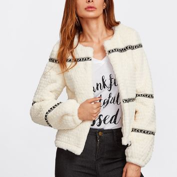 Chevron Tape Detail Textured Faux Fur Coat