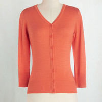 60s Mid-length Long Sleeve Charter School Cardigan in Cantaloupe