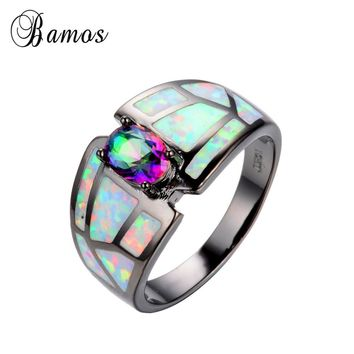 Summer Rainbow Fine jewelry Size 6/7/8/9 Women Finger Rings 14KT Black Gold Filled Zircon Opal Stone Wedding Ring anel RB0250