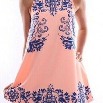 Pink Ethnic Style Sleeveless Dress