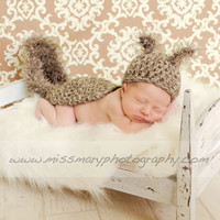 Newborn Baby SQUIRREL Hat and Cape Photo Prop Boy by pixieharmony