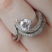 Vivadore Contemporary Twisted Diamond Engagement Ring