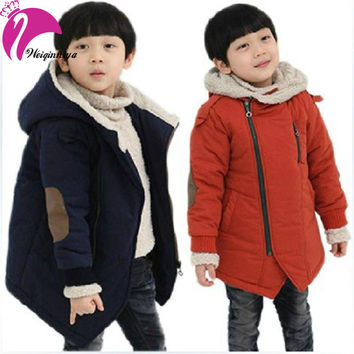 New Brand 2016 Autumn Winter Kid's Fashion & Casual Jackets Boy's Cashmere Long Sleeve Hooded Coats Kids Warm Clothing