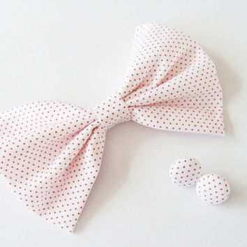 Red Polka Dotted White Fabric Bow available with hair comb, bobby pin, hair clip, ponytail, french barrette, Kawaii, For Teens, and Women