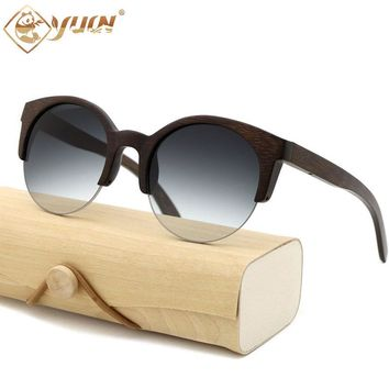 YUW Cat-Eye Round Bamboo Sunglasses with Mirrored and Gradient UV400 Lenses