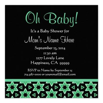 Green Fun Stars Gender Neutral Baby Shower Invitation from Zazzle.com