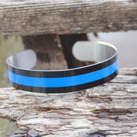 Custom Made Police Thin Blue Line Cuff Bracelet ~ First Responders Gift ~ Customize Your Colors ~ Police Gift ~ Police Wife Gift ~ Trends