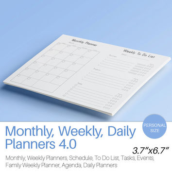 Filofax Personal Daily Weekly Monthly Planners KIT Printable Filofax Inserts PDF Agenda Calendar To Do List Life Instant Download 16 pages