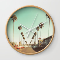 Ocean Beach Blvd San Diego Wall Clock by SoCal Chic Photography