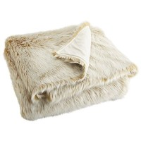 Oversized Ombre Faux Fur Throw - Gold