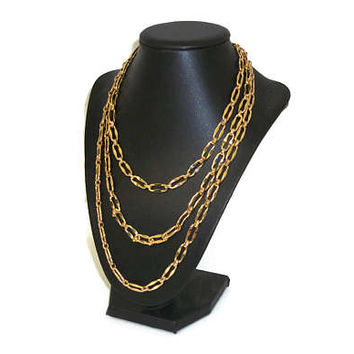 Long Vintage Gold Tone Chain Necklace - 60 inch Opera Length Versatile Chain Link - Big Links