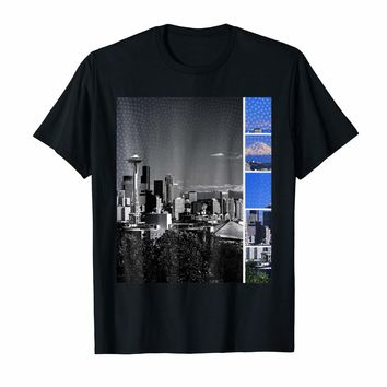 Downtown Seattle Skyline Shades of Grey and Blue T-Shirt