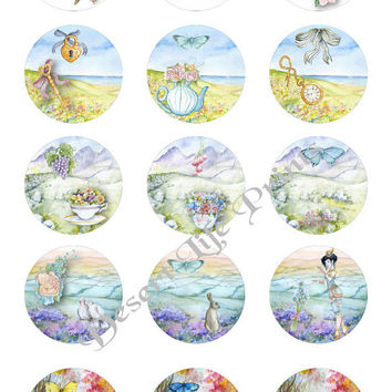 SPRING DAYS - 1.0 inch Circles - Collage Sheet Art for Bottle Caps, Pendants, Jewelry, Arts & Crafts dc103 - Instant Download