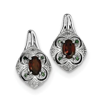 Sterling Silver Oval Garnet, White and Green Diamond Earrings