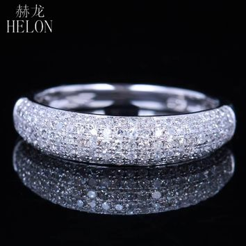 HELON Solid 14KT/585 White Gold Pave 0.5ct Natural Diamonds Wedding Women Anniversary Band Ring Engagement Fine Jewelry Ring