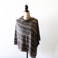 Tan and Black Tribal Poncho/ Nursing Poncho/ Aztec poncho/ Nursing Shawl/ Breastfeeding cover/ Summer Poncho/ New Mom Gift