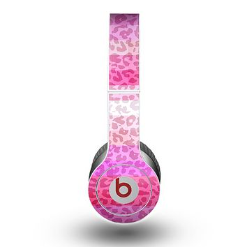 The Hot Pink Striped Cheetah Print Skin for the Beats by Dre Original Solo-Solo HD Headphones