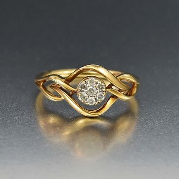 Vintage Diamond Cluster Gold Love Knot Ring