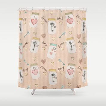 Love Is Key Mason Jar and Antique Key Art Shower Curtain by Cool Cat Creative