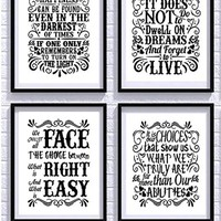 Harry Potter Quotes and Sayings Art Prints | Set of Four Photos 8x10 Unframed | Great Unique Gift