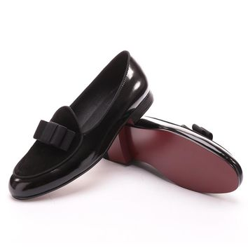 Black Velvet and Patent Leather Black Bow Loafers