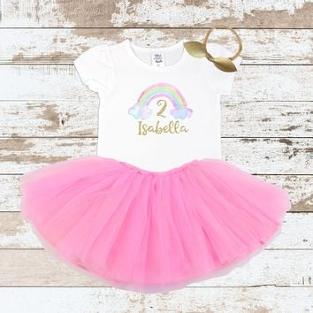 Custom Rainbow 2nd Birthday Shirt Pink Tutu