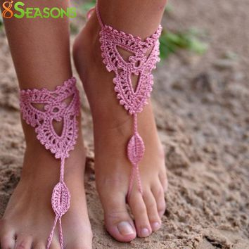 8SEASONS Cotton Crochet Foot Anklets Foot Jewelry Accessories Beach Anklet Wedding Barefoot Sandles Black White Pink, 1 PC