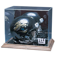 New York Giants NFL Full Size Football Helmet Display Case (Wood Base)