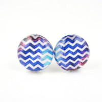 WINNI - Blue Chevron Earrings by hopestarbound