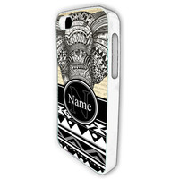 Elephant ornate Tribal African pattern custom Monogram Personalised name Hard high quality plastic Phone case cover for Apple Iphone 4 4s 4G