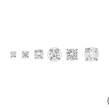 Cubic Zirconia Earring - Round Silver