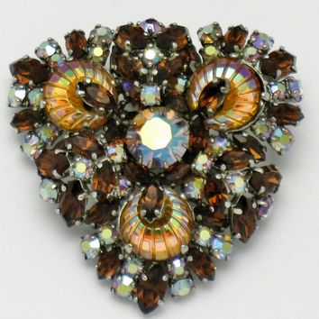 Vintage Made in France French Rhinestone Carnival Glass Heart Shaped Brooch