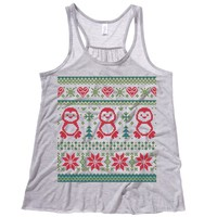 Ugly Christmas Sweater Penguin Theme Womens Tank
